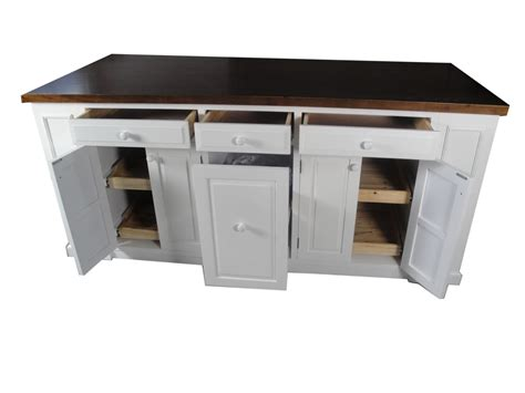 kitchen island trash 72 quot white kitchen island with smart trays bookcase