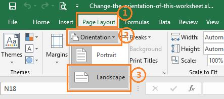 Change The Orientation Of This Worksheet To Landscape