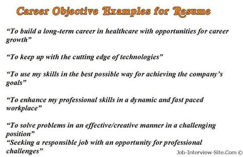Example Career Objective Sample Career Objectives Examples For Resumes