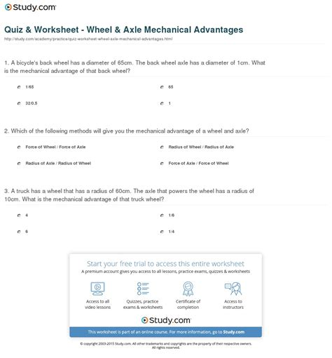 Calculating Mechanical Advantage Worksheet With Answers by Pictures Wheel And Axle Worksheet Dropwin