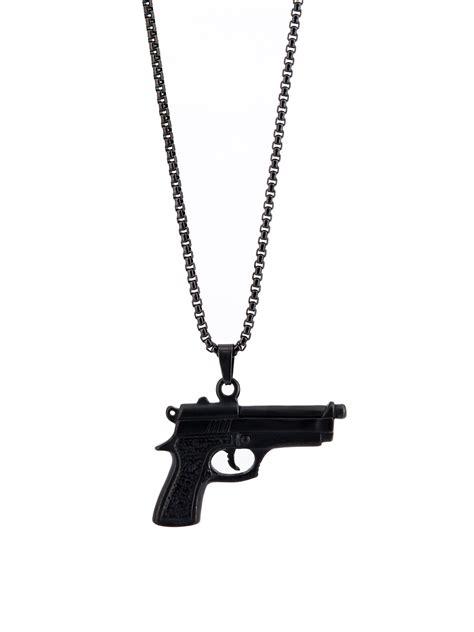 Wa Kalung Choker Pistol gun color plated titanium personalized black beautiful necklace wholesale