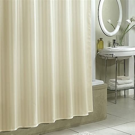 buy designer shower curtains from bed bath beyond buy damask stripe fabric shower curtain liner in ivory