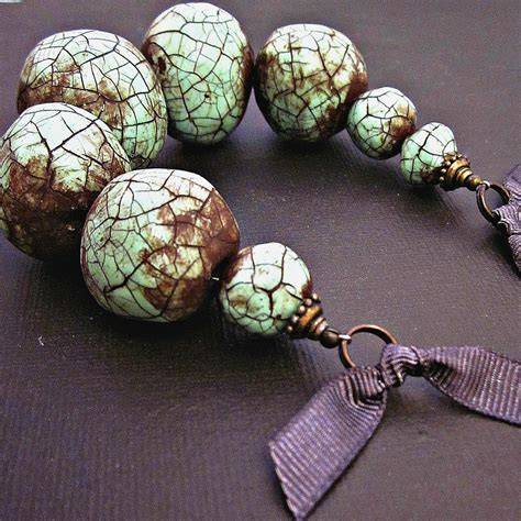 How To Make Paper Mache Jewelry - paper mache necklace chunky beaded mint green crackle ribbon