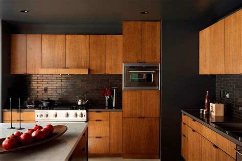 Mid Century Modern Kitchen Cabinets Modern Elegance In The Kitchen Inspiration Black Painted Walls Lloyd Wright And Painted Walls