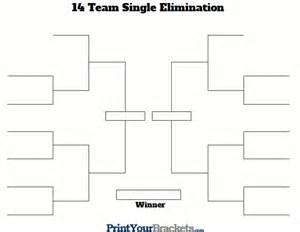 14 team single elimination printable tournament bracket