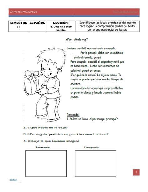 cuento del espaol para 2 grado actividades para imprimir ejemplo segundo grado de primaria