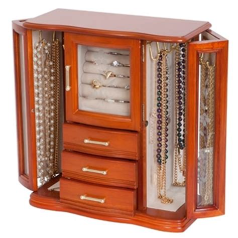 Glass Jewelry Armoire by Etched Glass Upright Jewelry Box Armoire