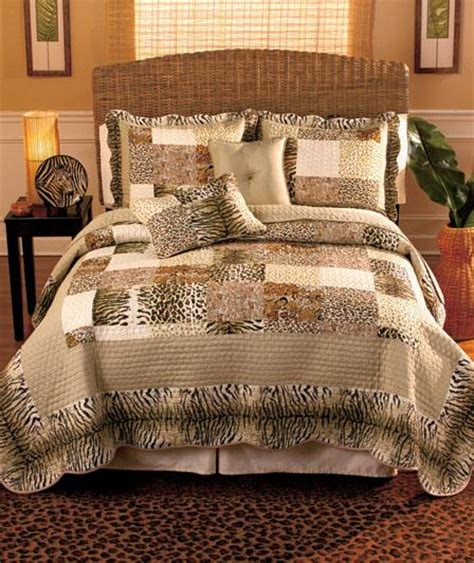 Zebra Patchwork Quilt - new 5 pc animal print quilt set pillows cheetah zebra