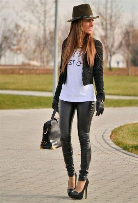 black leather pants  pumps short jacket  shirt