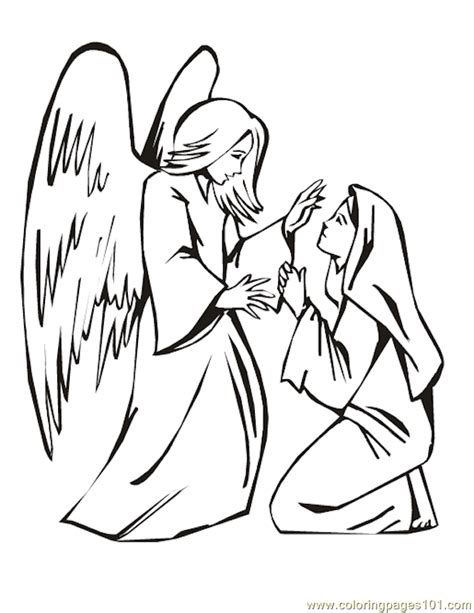 Free Coloring Pages Angel And Mary | free angel gabriel and mary coloring pages