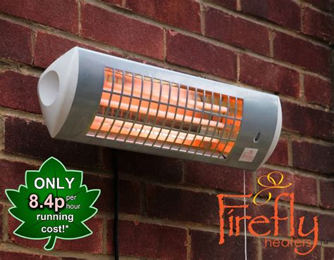 Firefly 1 8kw Wall Mounted Quartz Bulb Electric Tube Patio Wall Heaters