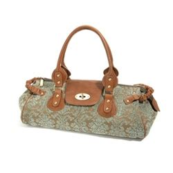 Johnny Rosie Jacquard Print Bag by Mojolondon Johnny Rosie Green Jacquard Leather Work Bag