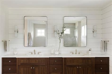coffee stained dual bath vanity transitional bathroom