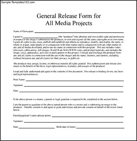 general release form template general media project release form sle templates