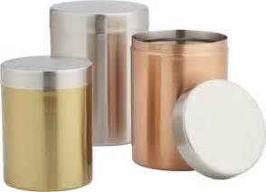 Contemporary Kitchen Canisters by 3 Piece Mixed Metal Canister Set Modern Kitchen
