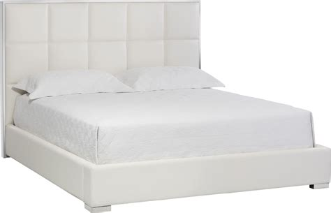 White Leather Platform Bed Tompkins White Leather King Platform Bed 101507 Sunpan Modern Home