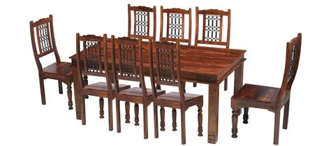 Chunky Dining Table And Chairs Jali Sheesham 200 Cm Chunky Dining Table And 8 Chairs Quercus Living