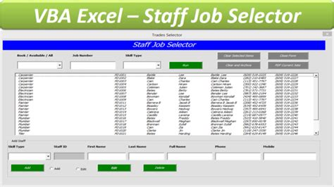excel tutorial jobs staff job allocator database excel userform database