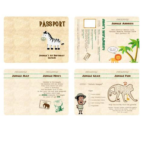 passport invitation template free safari passport birthday invitation template