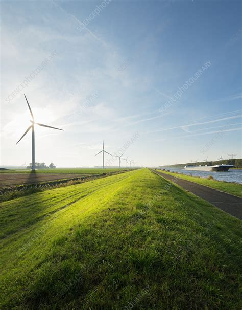 canal boat wind turbine wind turbines and canal stock image f010 0091 science