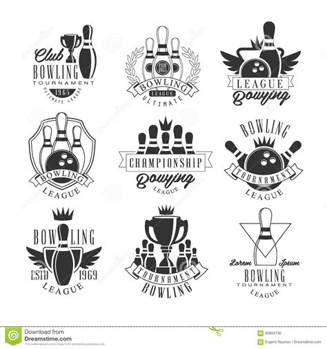 Bowling League Tournament Black And White Sign Design Templates With Text And Tools Silhouettes Bowling Shirt Design Template