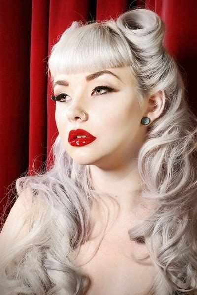 hairstyles if silver white pin up style silver white hair rockabilly pinterest