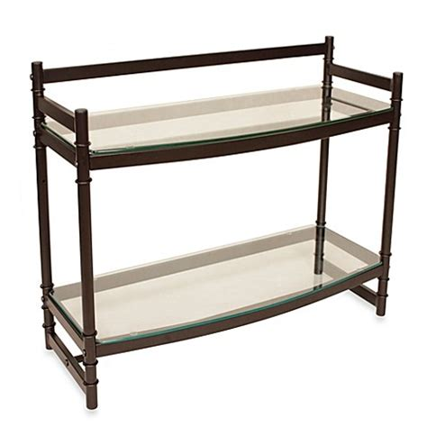 bronze bathroom shelf buy napa two tier bronze and glass bathroom wall shelf