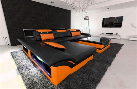 U Form by Design Sectional Sofa Monza L Shaped Leathersofa With Led