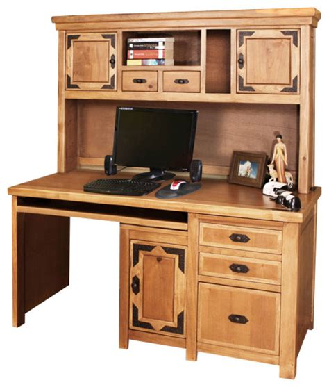 Desk With Small Hutch Artisan Home Lodge Home Office Small Desk With Hutch In Alder Traditional Desks And Hutches