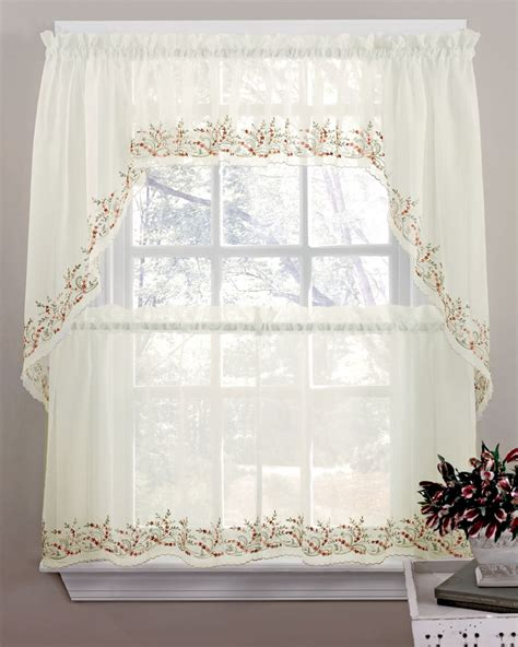 sheer curtains tiers swags valance lorraine home fashions sheer kitchen curtains