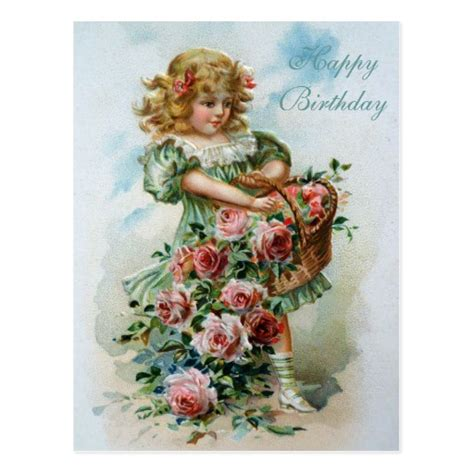 Printable Victorian Birthday Cards | happy birthday victorian post card pink roses zazzle