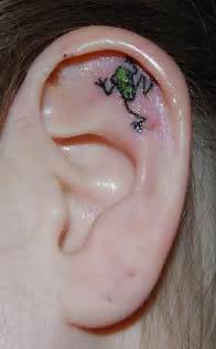 beautiful small frog tattoo on ear sheplanet