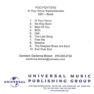 Foo Fighter In Your Honor foo fighters in your honor instrumentals cdr at discogs