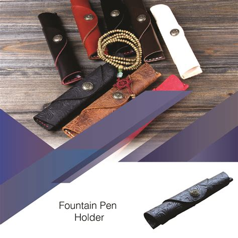 Handmade Pen Holder Design - drop shipping black original leather button design single