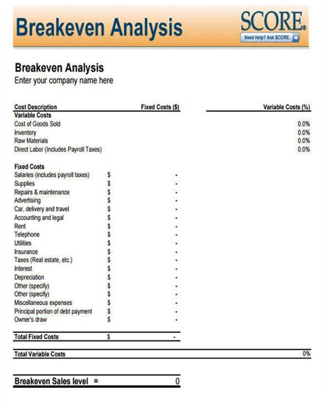 even analysis template breakeven analysis 7 exles in word pdf