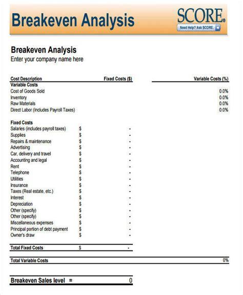 breakeven analysis 7 exles in word pdf