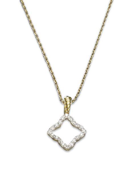 david yurman 18k gold quatrefoil necklace in gold