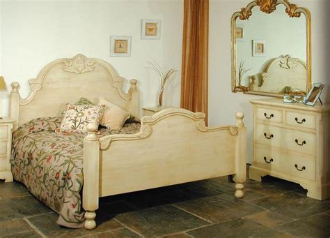 hand carved pine bed shabby chic finish painted cream