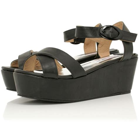 platform sandals buy wyld flatform platform sandal shoes black leather