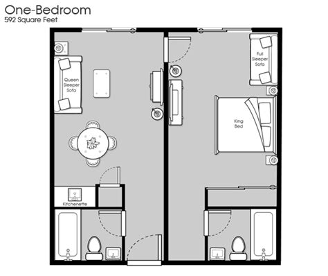 1 Bedroom Design Layout Riverview Resort Information