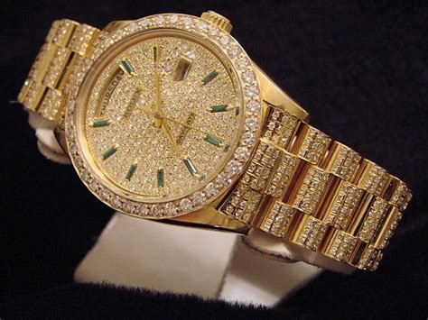 mens rolex day date president 18k yellow gold w 10 5ct