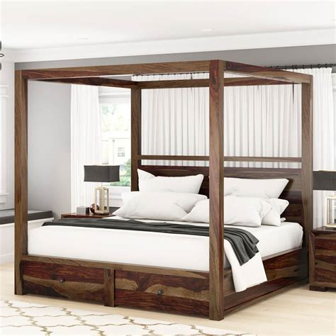 sheesham solid wood contemporary  poster storage bed