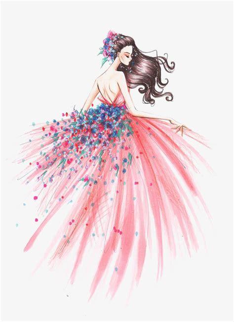Fashion Bag Motif Salur Pink Korean Style Di Lengkapi Dompet Kecil K fashion haired drawing pink dress png image and clipart for free