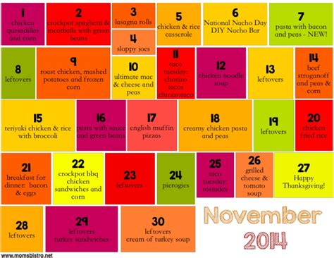 planner for november 2014 printable a month of kid friendly dinners on a budget one month