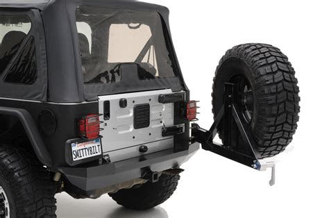 jeep yj rear bumper smittybilt rear xrc bumper with swing out tire carrier in