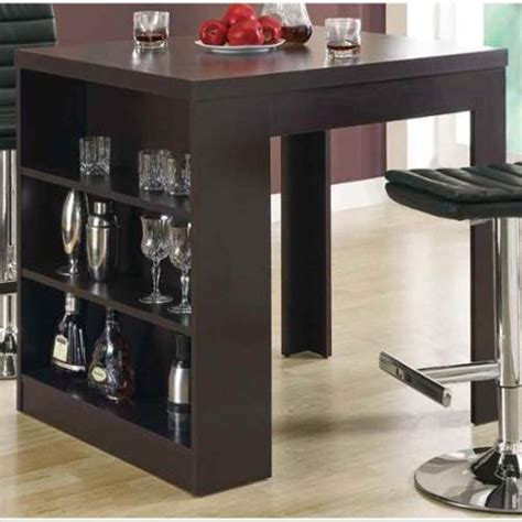 Kitchen Bar Table With Storage New Brown Counter Height Table Indoor Kitchen Storage Shelf Wood Bar Pub Dining Tables