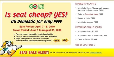 Cebu Pacific Domestic Seat Sale by Adventurous Cebu Pacific Seat Sale Promo On
