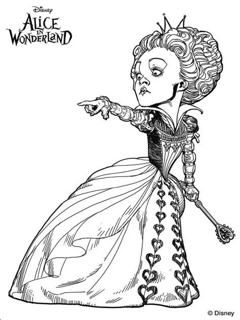 tim burton s alice in wonderland colouring page
