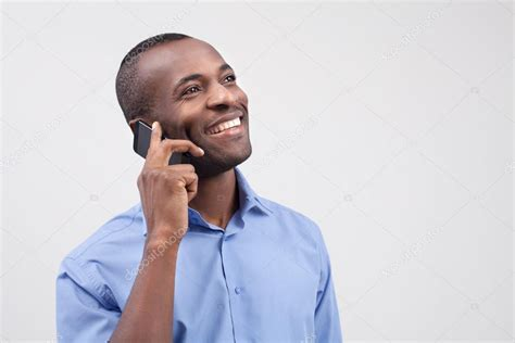 Or The Phone Black Talking On The Mobile Phone And Smiling Stock Photo 169 Gstockstudio 37034765