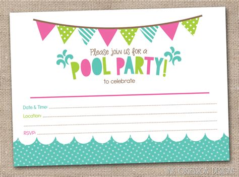 printable birthday party invitations girls pool party printable invitation fill by